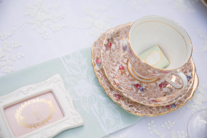 Place setting from a Laduree Tea Party at Kara's Party Ideas | KarasPartyIdeas.com (28)