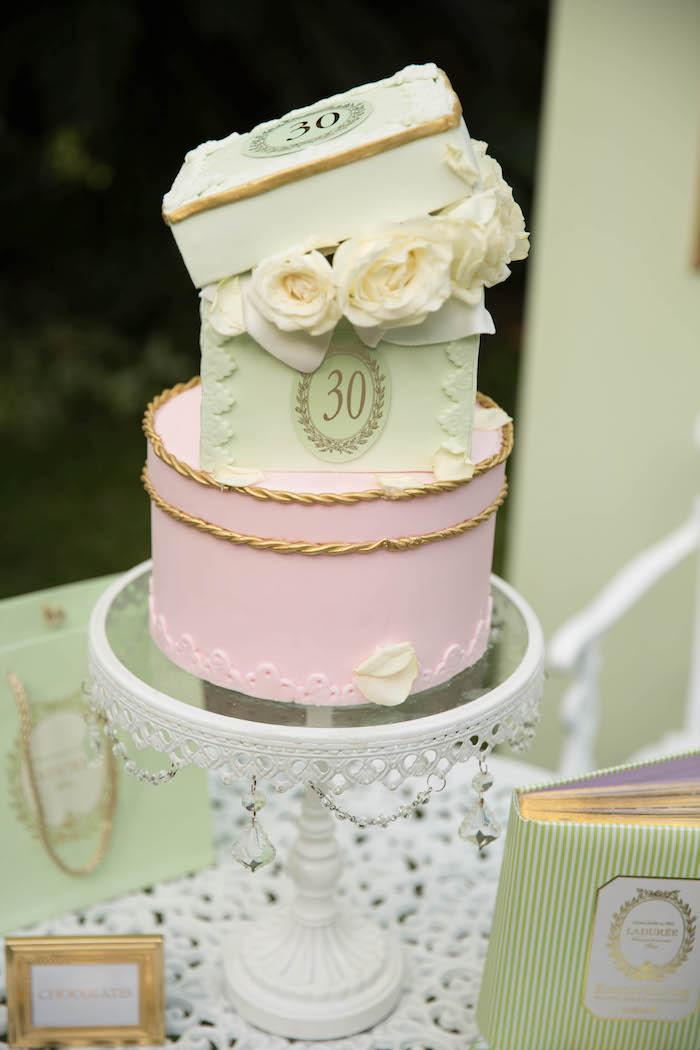 Cake from a Laduree Tea Party at Kara's Party Ideas | KarasPartyIdeas.com (27)