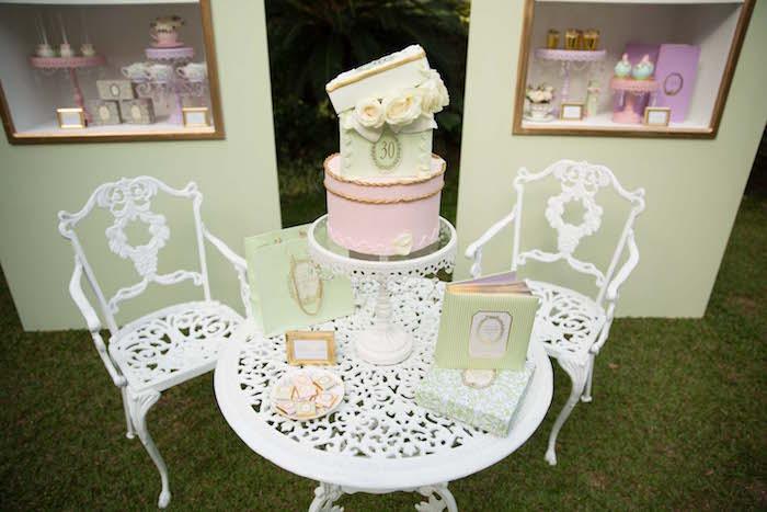 Cake table from a Laduree Tea Party at Kara's Party Ideas | KarasPartyIdeas.com (26)