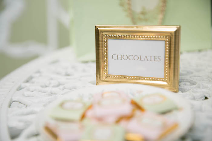 Framed chocolates label from a Laduree Tea Party at Kara's Party Ideas | KarasPartyIdeas.com (24)