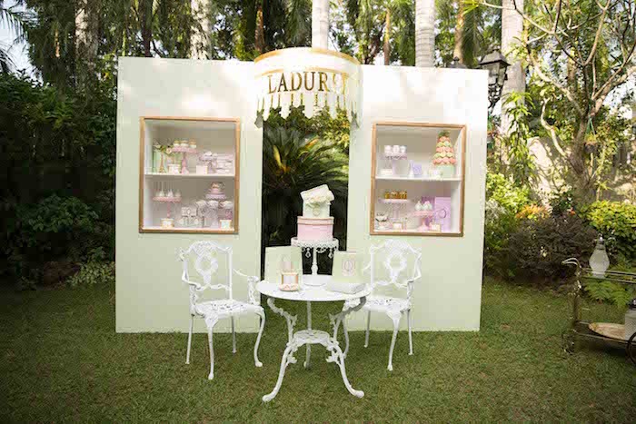 Laduree shop dessert display from a Laduree Tea Party at Kara's Party Ideas | KarasPartyIdeas.com (22)