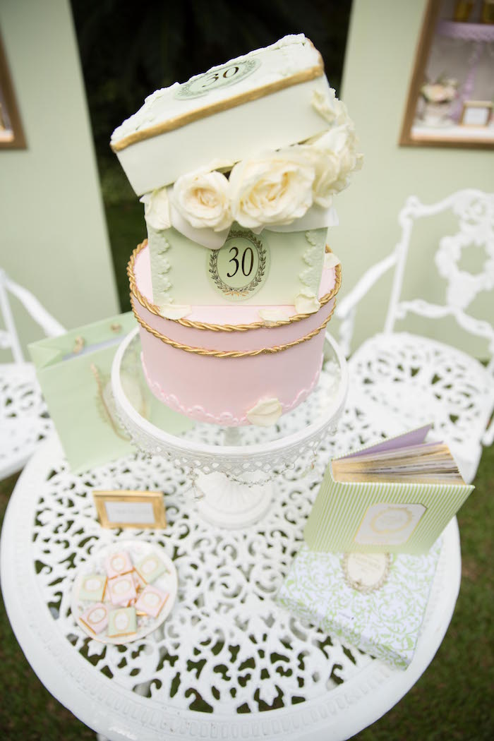 Cake from a Laduree Tea Party at Kara's Party Ideas | KarasPartyIdeas.com (20)