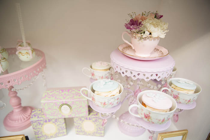Tea cup cupcakes from a Laduree Tea Party at Kara's Party Ideas | KarasPartyIdeas.com (15)