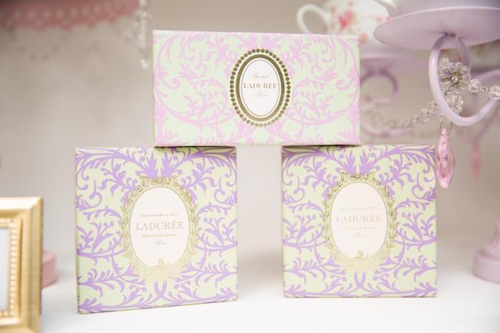 Laduree favor boxes from a Laduree Tea Party at Kara's Party Ideas | KarasPartyIdeas.com (14)