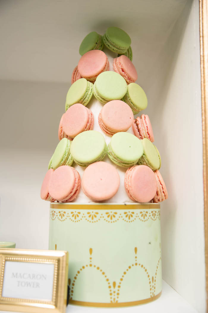 Macaron tower from a Laduree Tea Party at Kara's Party Ideas | KarasPartyIdeas.com (12)
