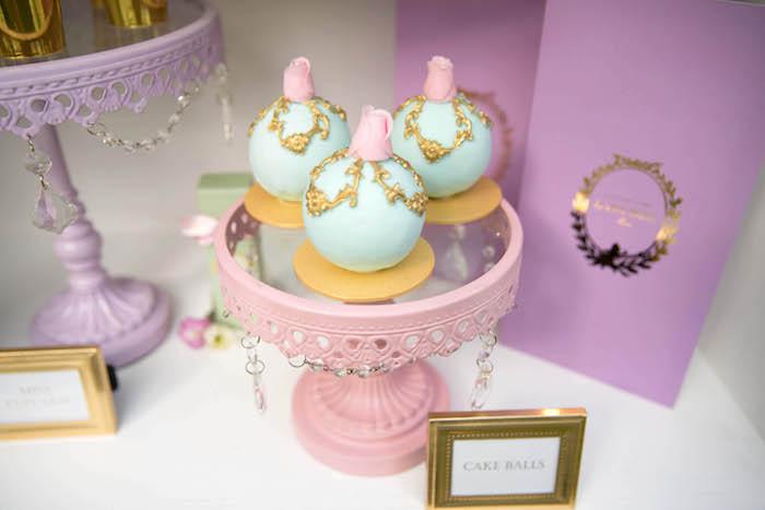 Cake balls from a Laduree Tea Party at Kara's Party Ideas | KarasPartyIdeas.com (9)