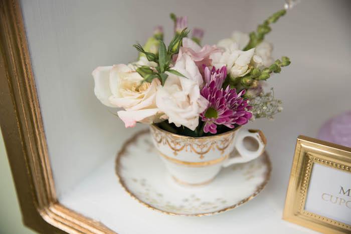 Tea cup floral arrangement from a Laduree Tea Party at Kara's Party Ideas | KarasPartyIdeas.com (8)
