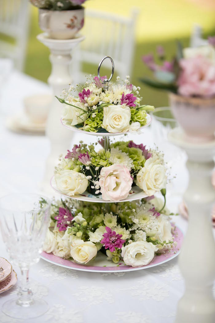 Tiered florals from a Laduree Tea Party at Kara's Party Ideas | KarasPartyIdeas.com (44)