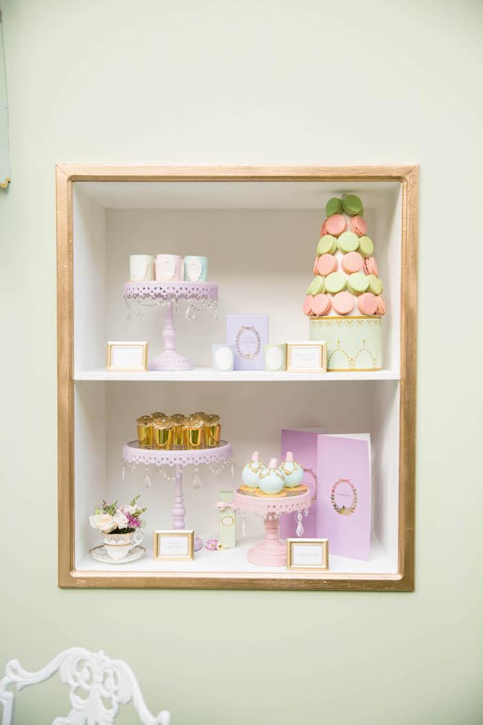 Dessert display from a Laduree Tea Party at Kara's Party Ideas | KarasPartyIdeas.com (6)