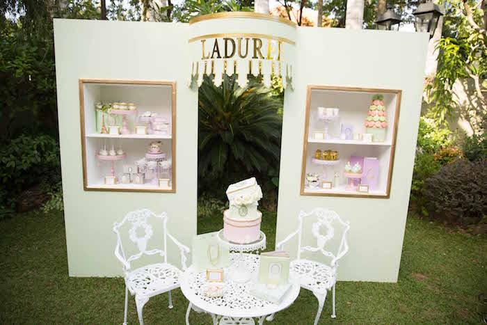 Laduree dessert stand from a Laduree Tea Party at Kara's Party Ideas | KarasPartyIdeas.com (5)