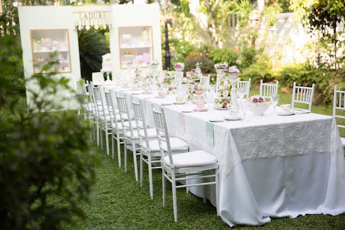 Party tablescape from a Laduree Tea Party at Kara's Party Ideas | KarasPartyIdeas.com (4)