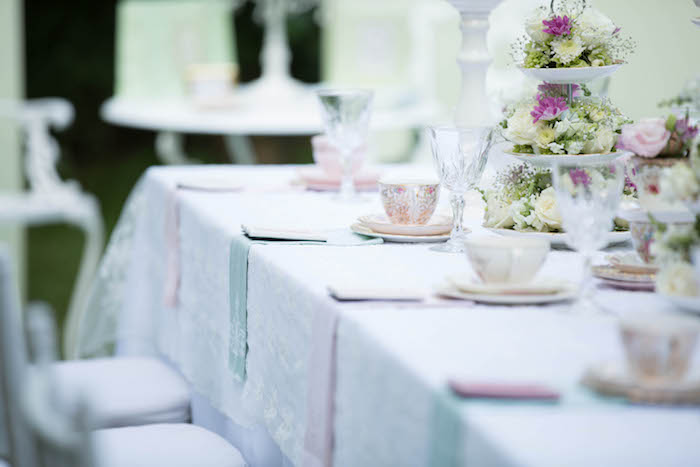Tea table from a Laduree Tea Party at Kara's Party Ideas | KarasPartyIdeas.com (3)