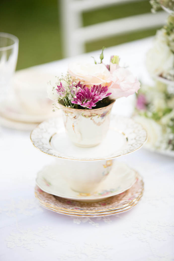 Fine china floral centerpiece from a Laduree Tea Party at Kara's Party Ideas | KarasPartyIdeas.com (43)