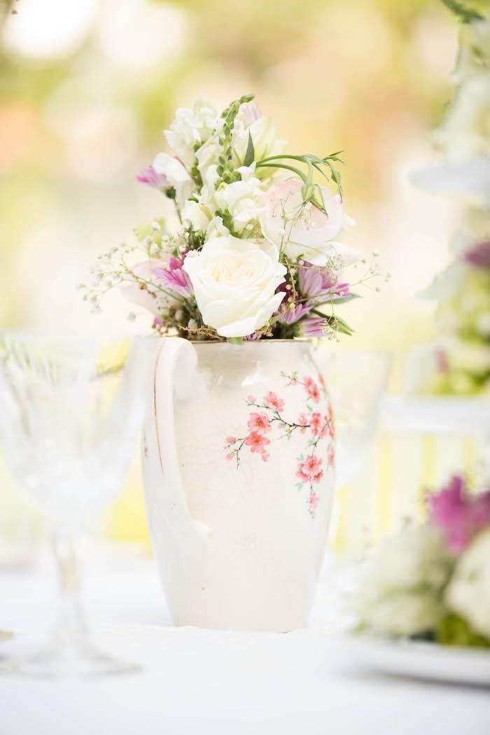 Tea time floral arrangement from a Laduree Tea Party at Kara's Party Ideas | KarasPartyIdeas.com (42)