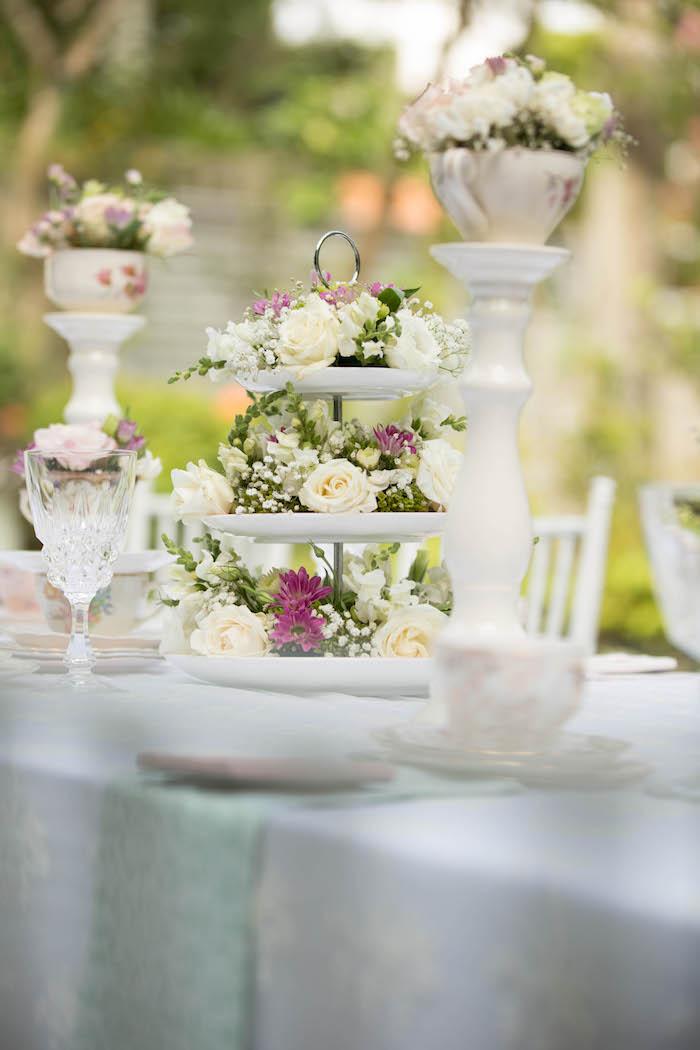 Tea table decor from a Laduree Tea Party at Kara's Party Ideas | KarasPartyIdeas.com (41)