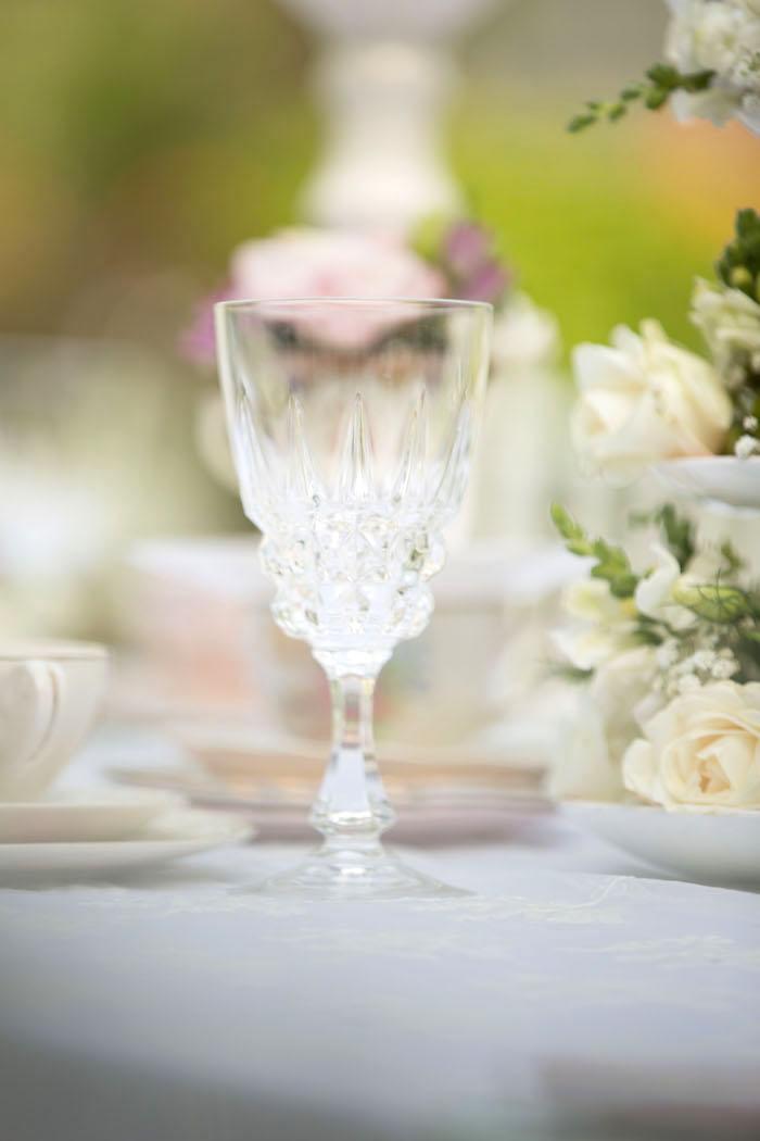 Crystal goblet from a Laduree Tea Party at Kara's Party Ideas | KarasPartyIdeas.com (40)