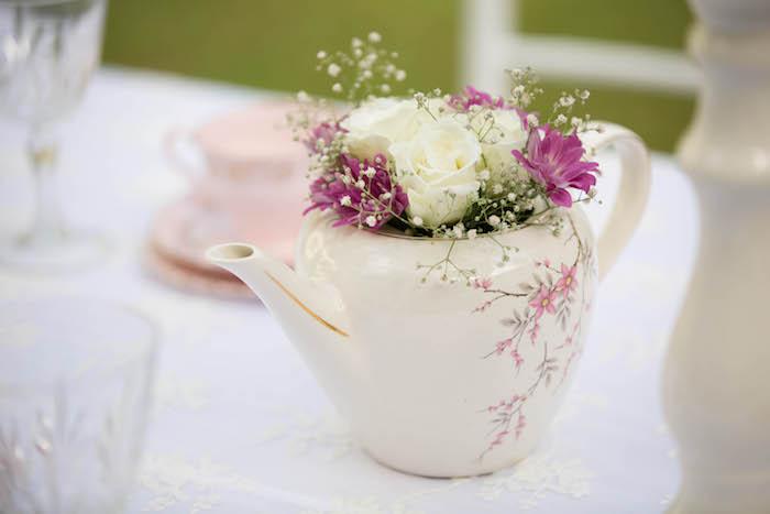 Tea kettle floral arrangement from a Laduree Tea Party at Kara's Party Ideas | KarasPartyIdeas.com (39)