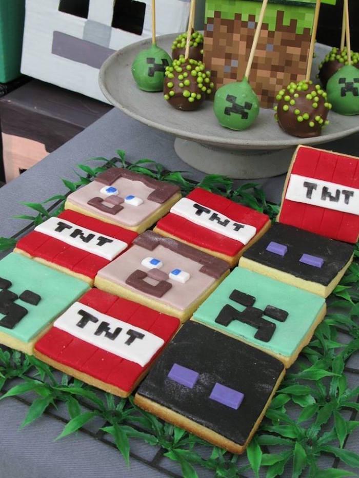 Minecraft cookies from a Minecraft Birthday Party via Kara's Party Ideas KarasPartyIdeas.com (7)