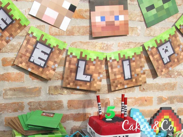 Minecraft party banner from a Minecraft Birthday Party via Kara's Party Ideas KarasPartyIdeas.com (6)
