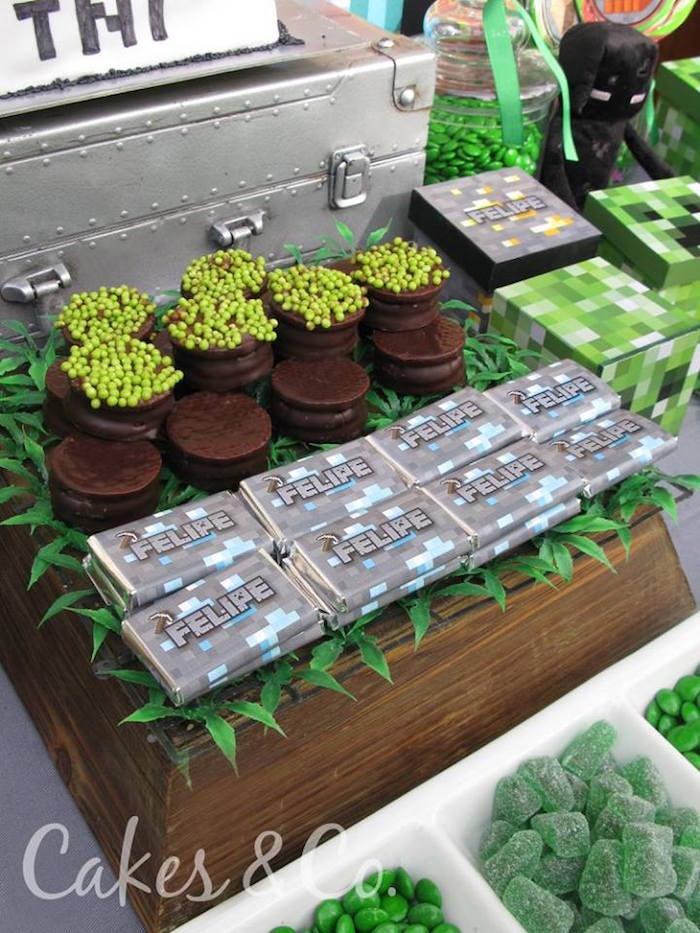 Sweets & treats from a Minecraft Birthday Party via Kara's Party Ideas KarasPartyIdeas.com (5)