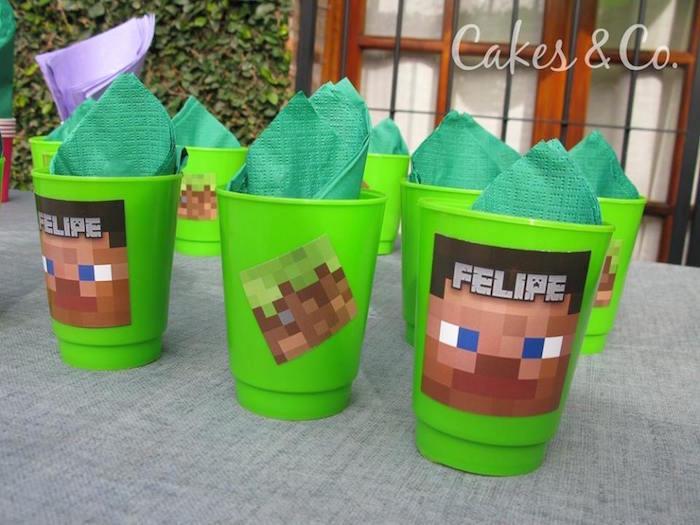 Cups & Napkins from a Minecraft Birthday Party via Kara's Party Ideas KarasPartyIdeas.com (3)