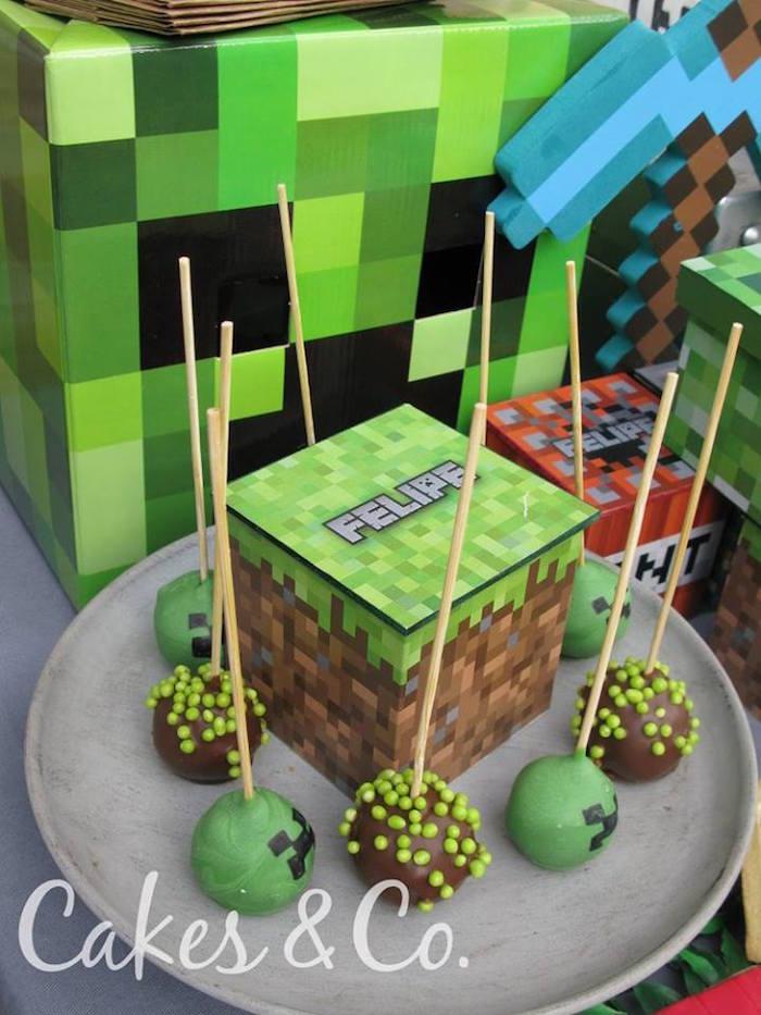 Creeper cake pops from a TNT Minecraft Birthday Party via Kara's Party Ideas KarasPartyIdeas.com (15)