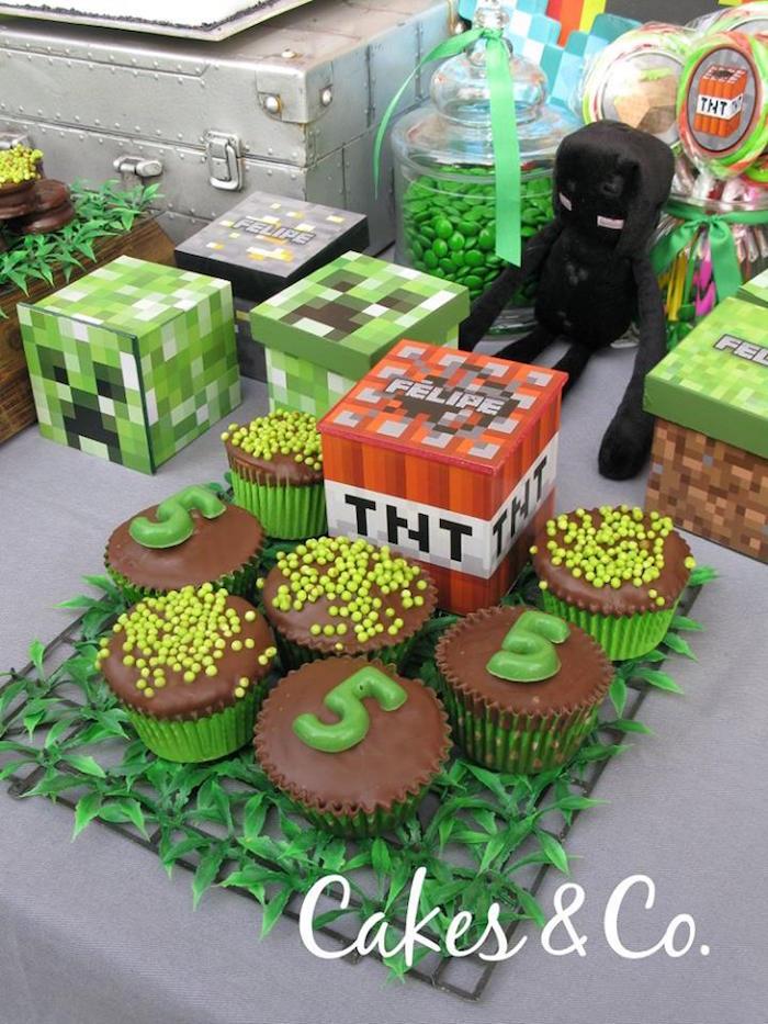 Cupcakes from a TNT Minecraft Birthday Party via Kara's Party Ideas KarasPartyIdeas.com (14)