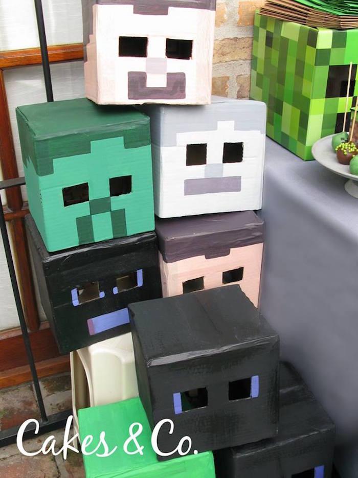 Minecraft character boxes from a Minecraft Birthday Party via Kara's Party Ideas KarasPartyIdeas.com (10)