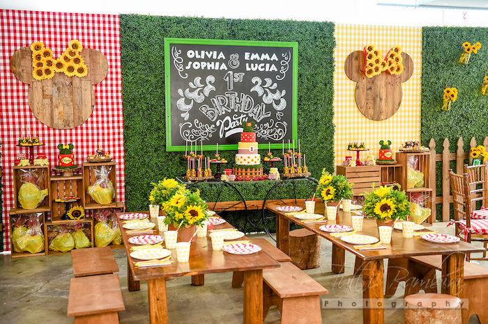 Sunflower guest tables from a Minnie Mouse Sunflower Garden Party on Kara's Party Ideas | KarasPartyIdeas.com (40)
