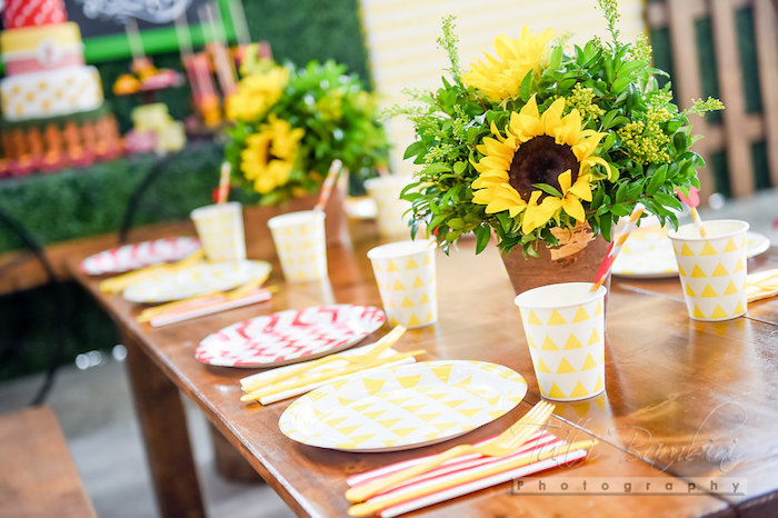 Guest tablescape from a Minnie Mouse Sunflower Garden Party on Kara's Party Ideas | KarasPartyIdeas.com (58)