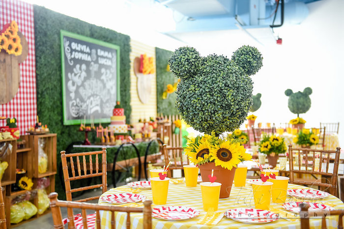 Minnie Mouse garden tablescape from a Minnie Mouse Sunflower Garden Party on Kara's Party Ideas | KarasPartyIdeas.com (39)