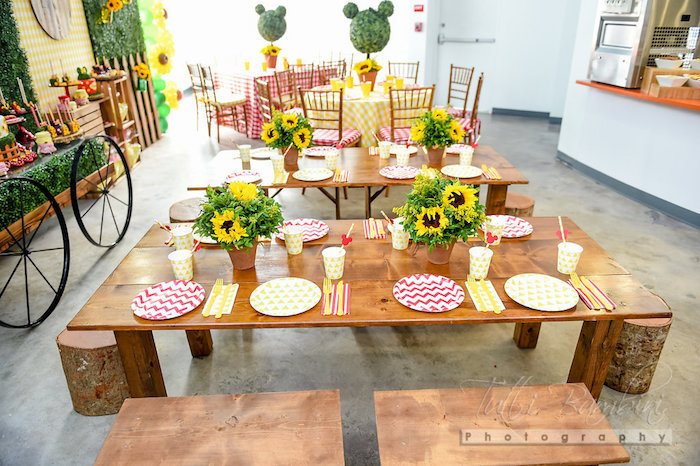 Garden guest table from a Minnie Mouse Sunflower Garden Party on Kara's Party Ideas | KarasPartyIdeas.com (38)