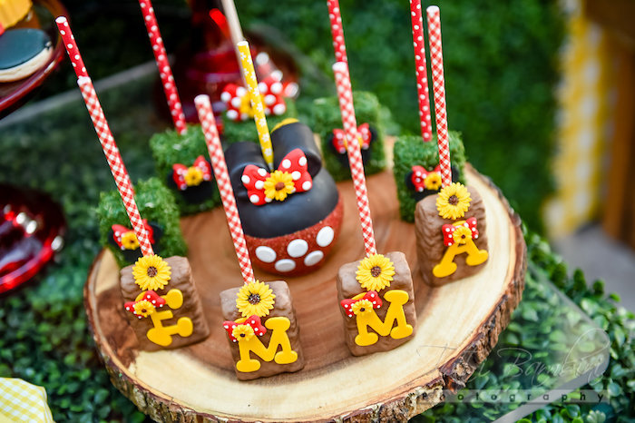 Rice Krispie Treats from a Minnie Mouse Sunflower Garden Party on Kara's Party Ideas | KarasPartyIdeas.com (34)