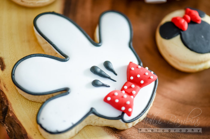Minnie Mouse hand cookie from a Minnie Mouse Sunflower Garden Party on Kara's Party Ideas | KarasPartyIdeas.com (31)