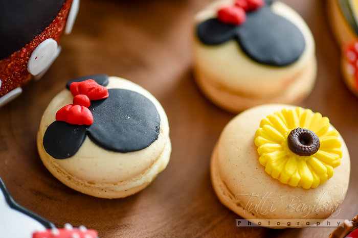 Minnie Mouse + sunflower macarons from a Minnie Mouse Sunflower Garden Party on Kara's Party Ideas | KarasPartyIdeas.com (30)