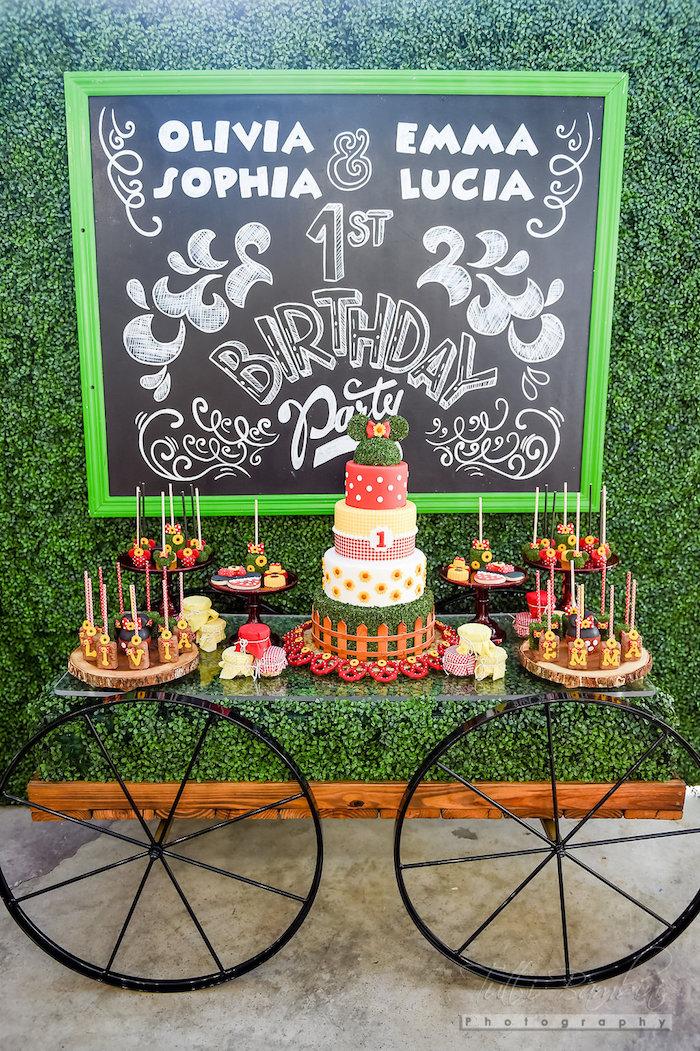 Dessert table from a Minnie Mouse Sunflower Garden Party on Kara's Party Ideas | KarasPartyIdeas.com (57)