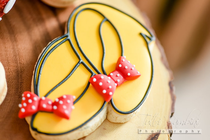 Minnie Mouse shoe cookies from a Minnie Mouse Sunflower Garden Party on Kara's Party Ideas | KarasPartyIdeas.com (27)
