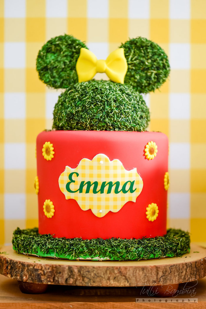 Garden Party Ideas large flowers affixed to child sized chairs at a guest table Minnie Mouse Sunflower Cake From A Minnie Mouse Sunflower Garden Party On Karas Party Ideas