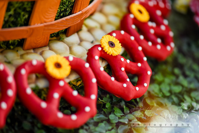 Minnie Mouse covered pretzels from a Minnie Mouse Sunflower Garden Party on Kara's Party Ideas | KarasPartyIdeas.com (20)