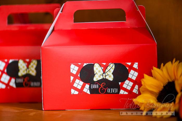Favor box from a Minnie Mouse Sunflower Garden Party on Kara's Party Ideas | KarasPartyIdeas.com (18)