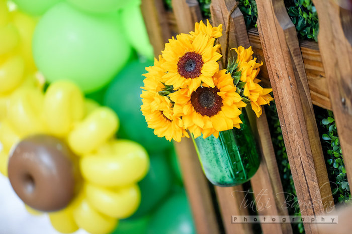 Sunflower arrangement from a Minnie Mouse Sunflower Garden Party on Kara's Party Ideas | KarasPartyIdeas.com (17)