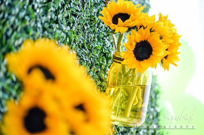 Mason jar sunflower arrangement from a Minnie Mouse Sunflower Garden Party on Kara's Party Ideas | KarasPartyIdeas.com (15)