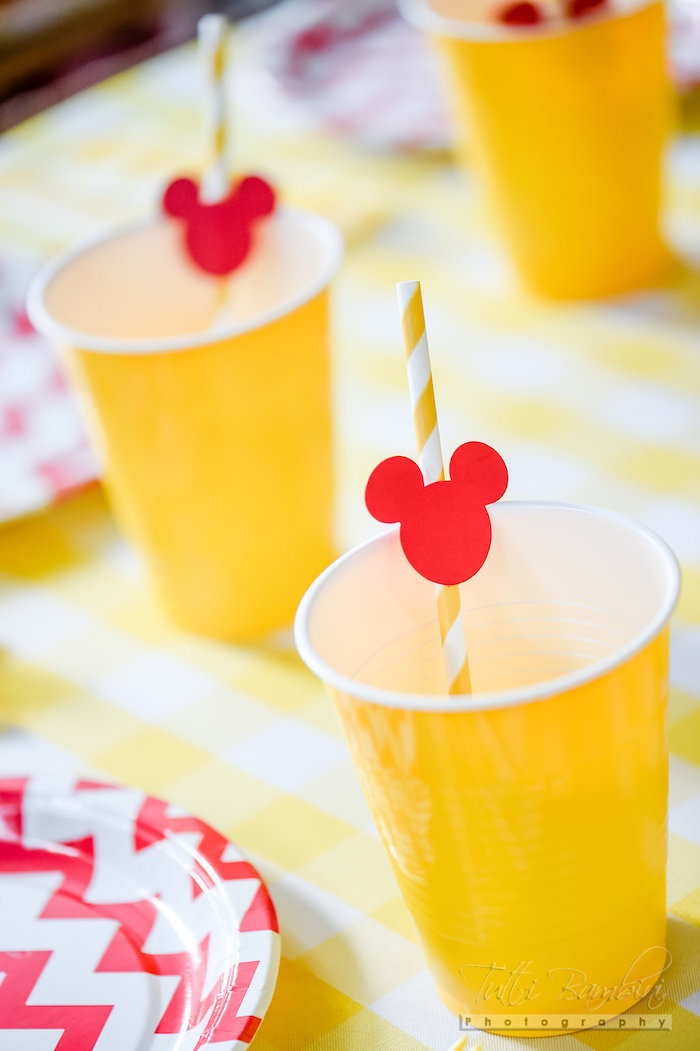 Drink cup from a Minnie Mouse Sunflower Garden Party on Kara's Party Ideas | KarasPartyIdeas.com (12)