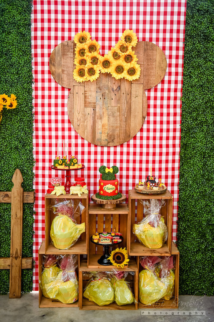Cake and sweet display from a Minnie Mouse Sunflower Garden Party on Kara's Party Ideas | KarasPartyIdeas.com (11)