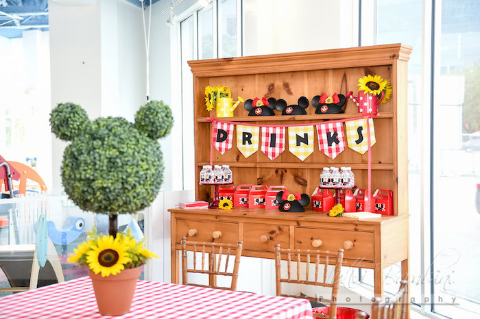 Drink table from a Minnie Mouse Sunflower Garden Party on Kara's Party Ideas | KarasPartyIdeas.com (55)