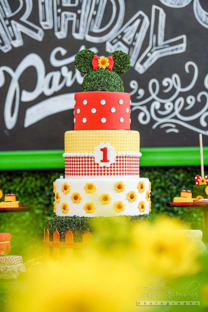 Garden Minnie Mouse Cake from a Minnie Mouse Sunflower Garden Party on Kara's Party Ideas | KarasPartyIdeas.com (4)