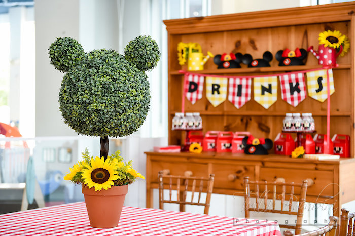 Minnie Mouse sunflower topiary from a Minnie Mouse Sunflower Garden Party on Kara's Party Ideas | KarasPartyIdeas.com (53)