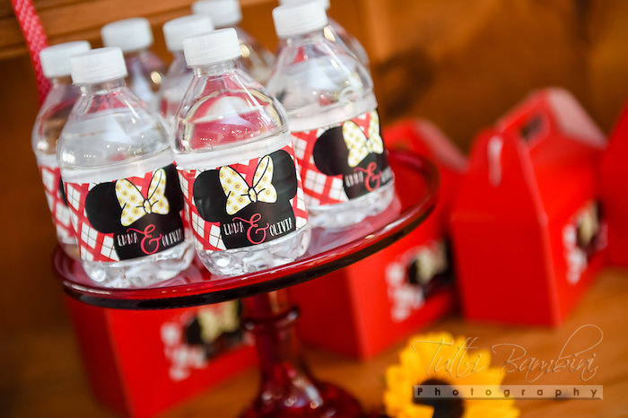 Minnie Mouse water bottles from a Minnie Mouse Sunflower Garden Party on Kara's Party Ideas | KarasPartyIdeas.com (50)