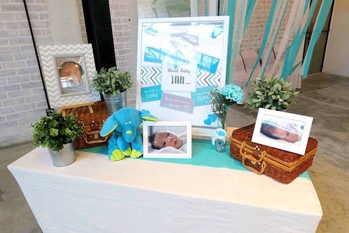 New baby photo table from a Modern Elephant Baby Shower on Kara's Party Ideas | KarasPartyIdeas.com (17)