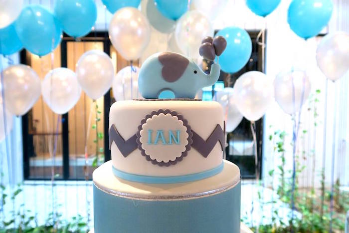 Blue elephant cake from a Modern Elephant Baby Shower on Kara's Party Ideas | KarasPartyIdeas.com (16)